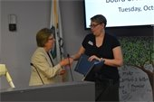 Mayor Lavelle presents Proclamation to Cordelia Heaney with the Compass Center For Women and Families.